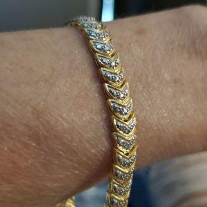 """New Genuine 1.00ctw Chevron Diamond Bracelet 7.5""""!"""